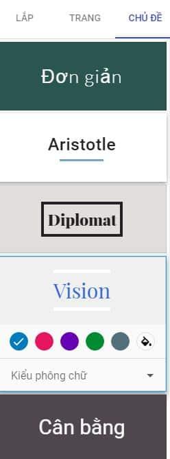 Mục chủ đề trong thiết kế website